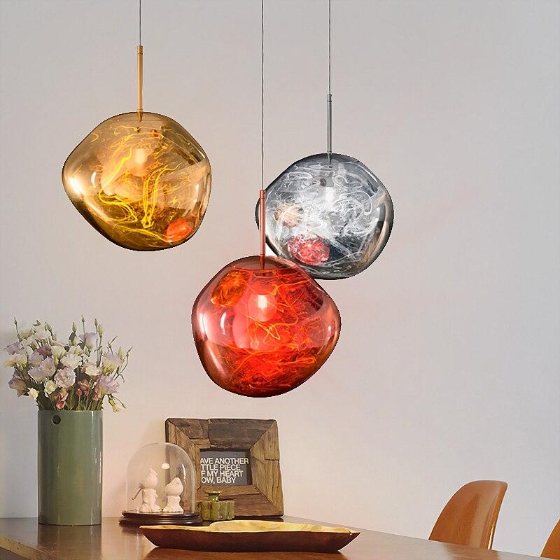 Современные D30/40 см Tom DIXON расплава подвесные светильники Стекло лавы нерегулярные цвет серебристый, Золотой Медь зеркало повесить лампы для