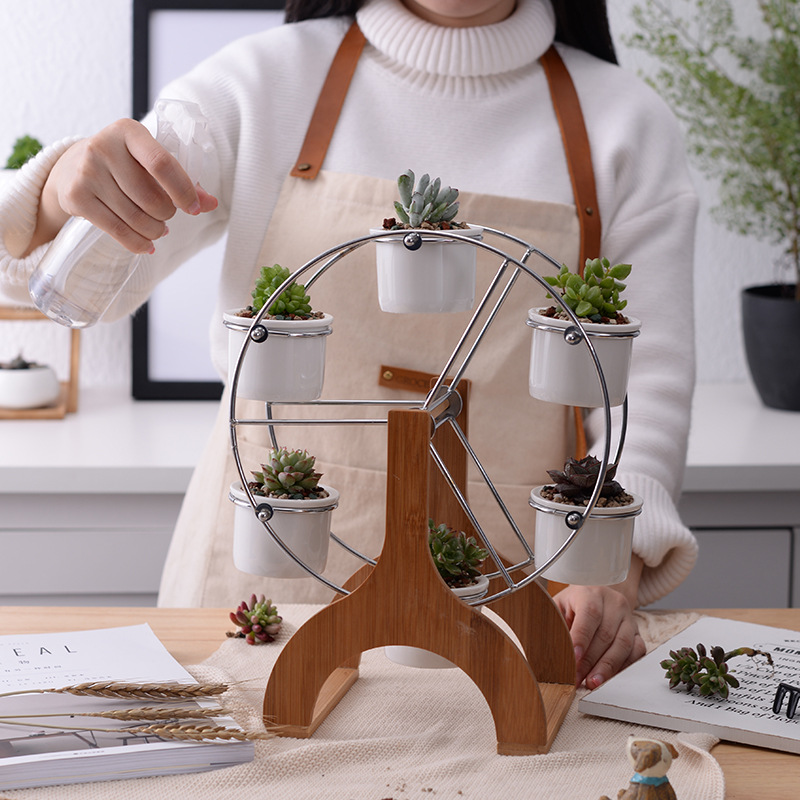 Ferris wheel flower pot and Rotating creative 6 in one Bamboo frame Ceramic planter flower and plant pot in garden decoration