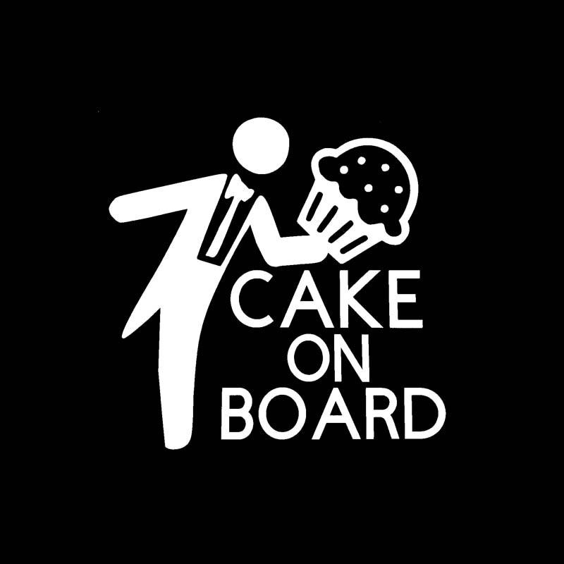Yjzt 17 8cm17 5cm Cake On Board Car Vinyl Decal Funny Sticker Black