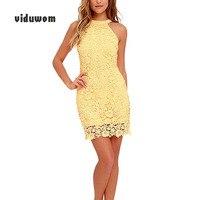 Summer Women Party Sexy pencil Dress Night Club Sleeveless Bodycon Lace Mini Elegant Dress Yellow White Navy Blue Watermelon Red