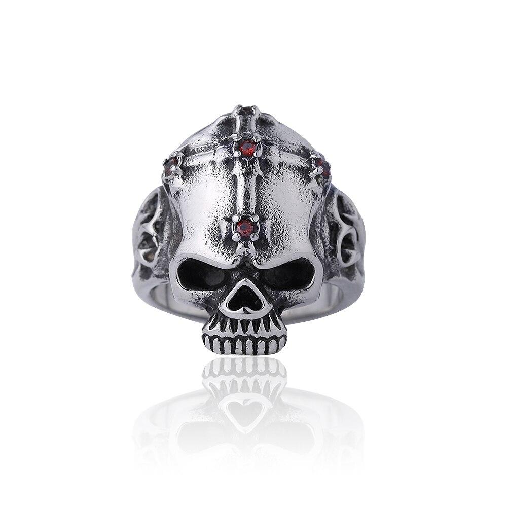 Classic Men Vintage Punk Jewelry Skull Rings Male Stainless Steel Cross Skeleton Rings