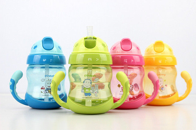 250ml Baby Cup Handle Children Learn Drinking Straw Bottle Sippy Cup Infant Hot Sale