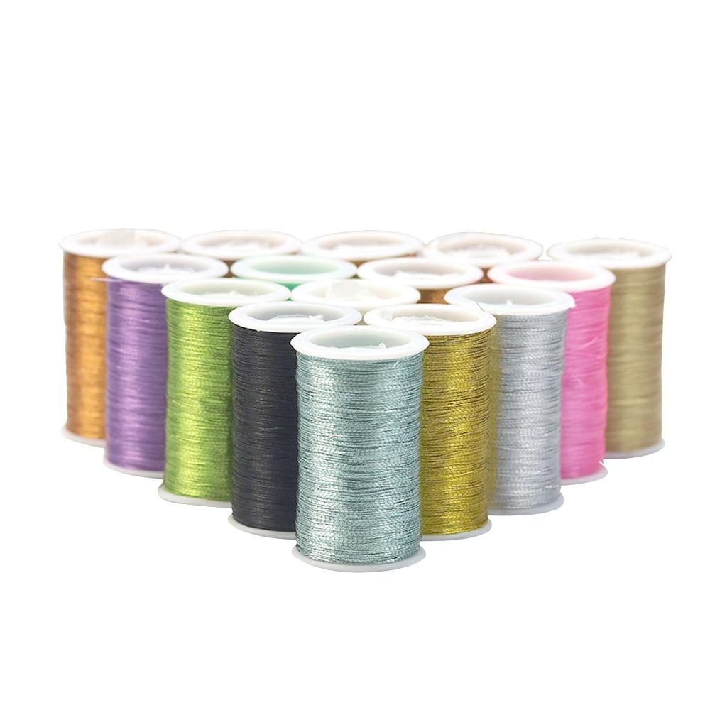D&D 10Pcs/set Metallic Embroidery Thread Polyeter Cross Stitch Knitting Yarn Sewing Thread Set DIY Fabric Craft Sewing Tools