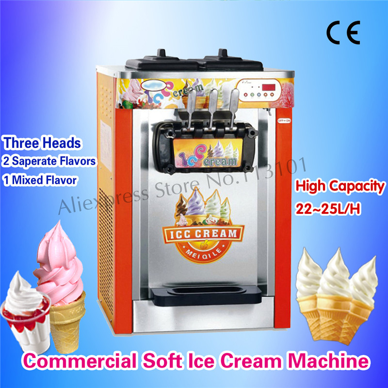Commercial Ice Cream Machine 3 Heads Desktop Soft Ice Cream Maker 22~25Liters/h for Amusement Parks Snack Shops School Stores