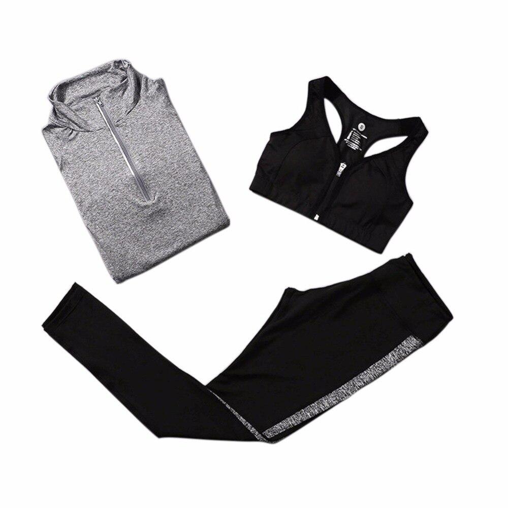 3Pcs Quick Dry Running Sets Absorb Sweat Gym Fitness Sports Bra & Pants & Jacket Sport Yoga Set Suit Tracksuit 5 Colors