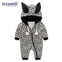 New 2018 Spring Baby Children Jumpsuit For Newborn Leopard Print Cotton Hooded Baby Body Suit Infant Coveralls Baby Clothing