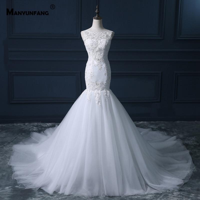 Detachable Train Boat Neck Trouwjurken White Muslim Wedding Dress Soft Lace Cover Trumpet Royal Train Vintage Wedding Dress