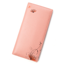 2016 new women genuine leather wallet 4 candy colors floral pattern women purse wallet brand fashion long women leather purse
