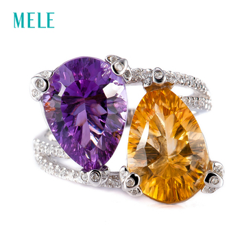 MELE Natural amethyst and citrine silver ring , concave cutting , good fire and good quality, 10mm*14mm in pears