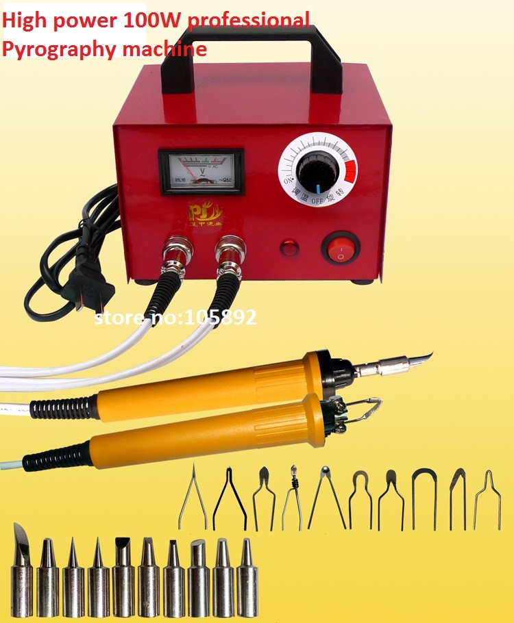 100W Professional Pyrography toolkit Multifunction Pyrography machine+10 pcs Pyrography Tips +10pcs solder tips+2pcs cutter pen quicktime toolkit volume one