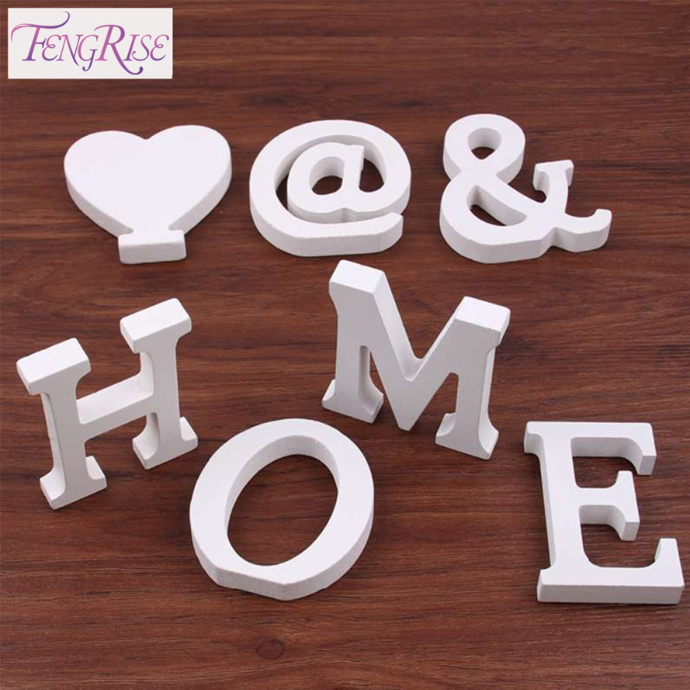 Fengrise home decor 8 cm wooden white letters table for Small wooden letters for crafts