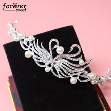 high-end bridal hair jewelry alloy crystal swan crown hollow peal baroque style tiara wedding hair accessories