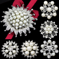 Faux Pearl Flower Brooch Collar Pin Rhinestone Crystal Bridal Jewelry Present