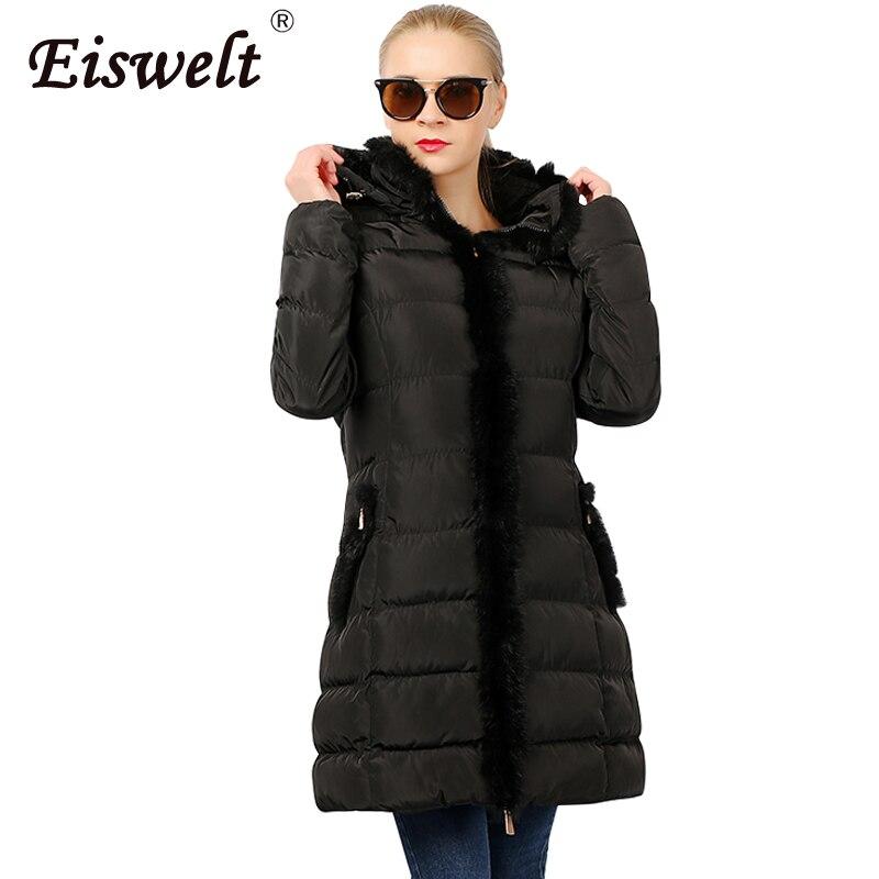 Хаки женские парки новая зимняя куртка женская меховая с капюшоном хлопковая Стеганая пуховая манто Femme теплая Женская куртка Wc48 - Цвет: Черный