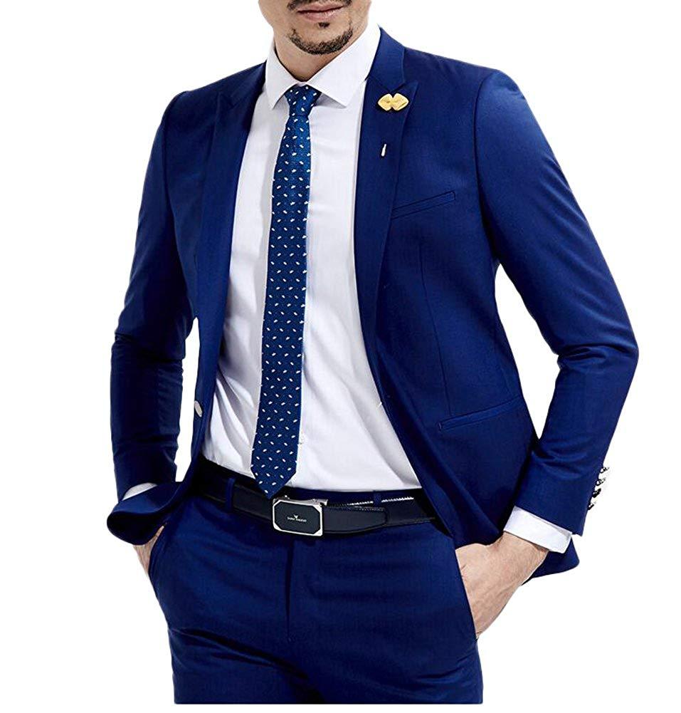 Royal Blue Wedding Suits 2 Pieces Slim Fit Men's Suits Groom Business One Button Suit  2018 New