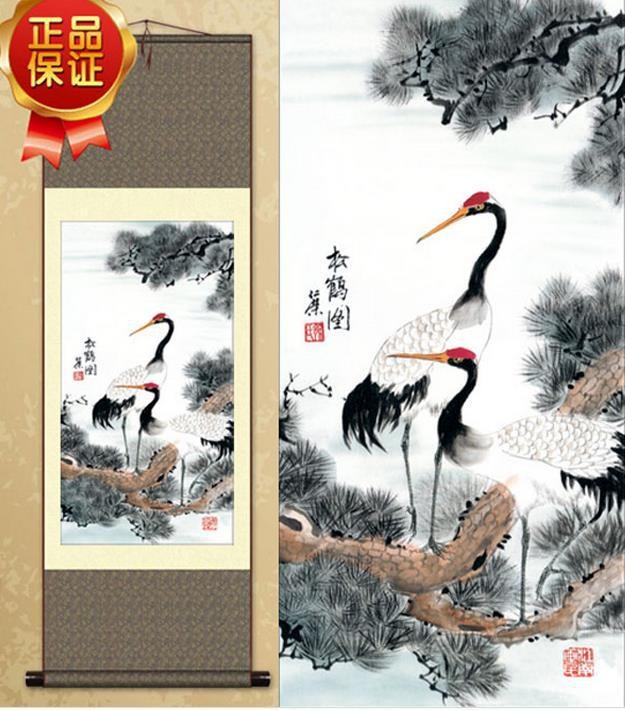 Chinese Traditional Painting Handmade Beautiful Crane And Pine Representing Longevity <font><b>Elegance</b></font> High-end Silk <font><b>Home</b></font> <font><b>Decoration</b></font>