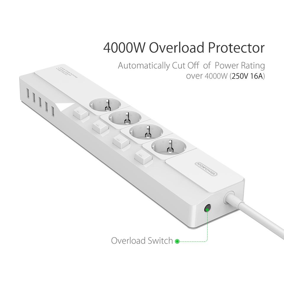 NTONPOWER EU Plug USB Power Socket Surge Protection (3)