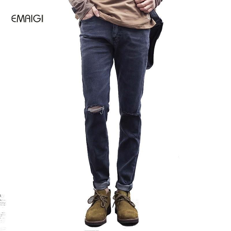 New Knee Hole Men Jeans Grey Fashion Slim Male Denim Pant High Street Hip Hop Men Casual Jean Trousers