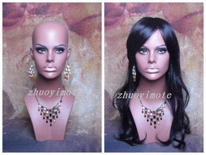 Black Realistic Fiberglass Mannequin Head Shoulders Earrings Wigs Display Women Mannequin Head Bust