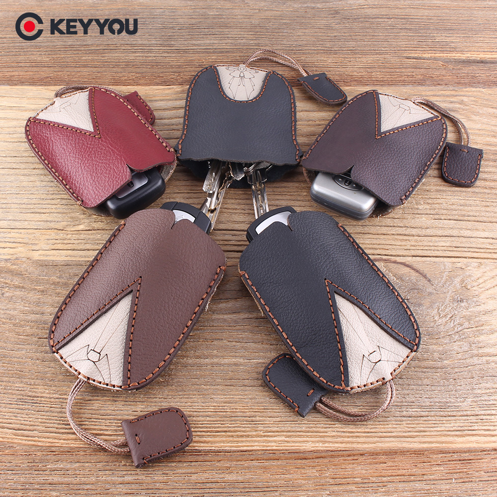KEYYOU Handmake Genuine Leather Keychain Car Key Case For Vw For Toyota Holder Key Wallets Housekeeper Key Cover Key Bag KEYYOU Handmake Genuine Leather Keychain Car Key Case For Vw For Toyota Holder Key Wallets Housekeeper Key Cover Key Bag