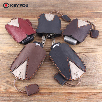 KEYYOU Handmake Genuine Leather Keychain Car Key Case For Vw For Toyota Holder Key Wallets Housekeeper Key Cover Key Bag image