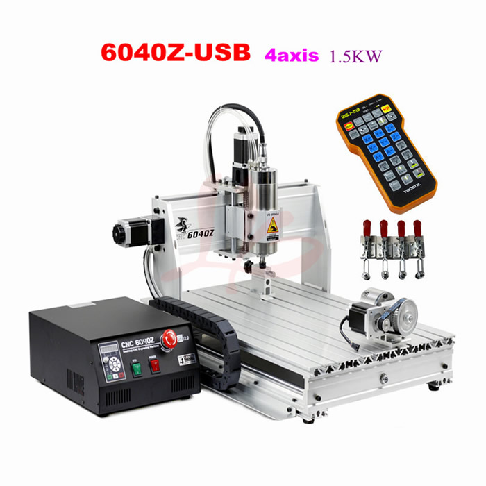 4 axis usb cnc 6040 woodworking machinery 300w drilling milling machine to eu free custom duty Free tax to EU CNC 6040Z-USB 4 axis 1.5KW mini CNC milling machine with mach3 remote control