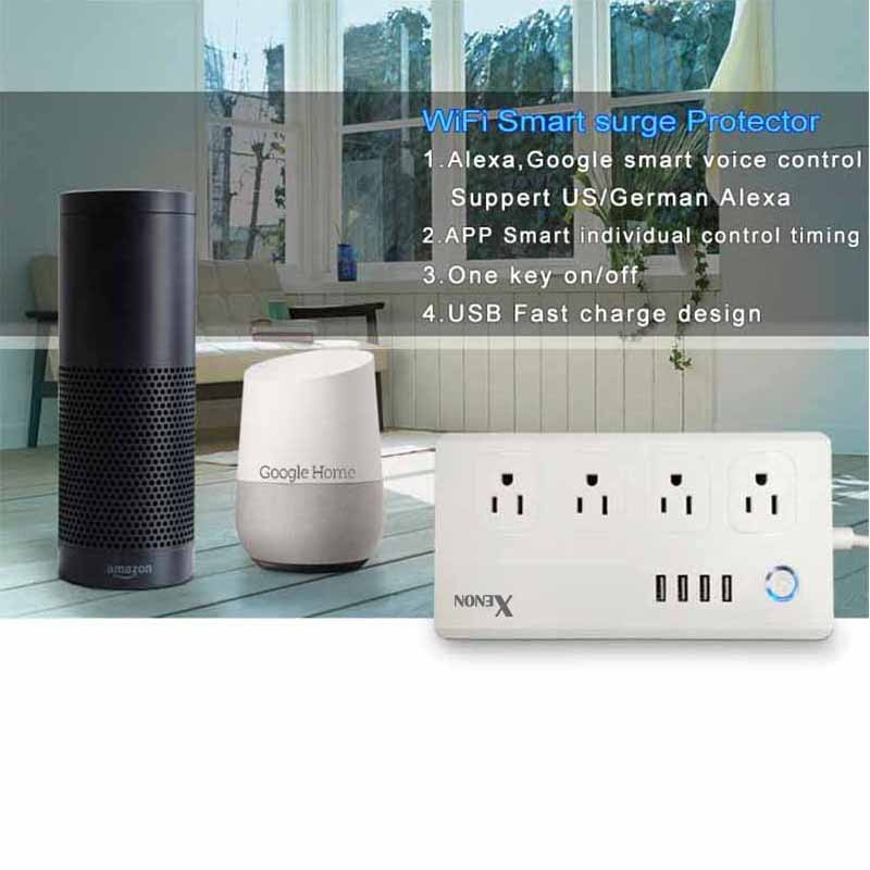 Work with Amazon Echo Alexa WiFi Smart Power Strip Surge Protector 4 Socket Outlet Plug Smart socket Home Strip for Home