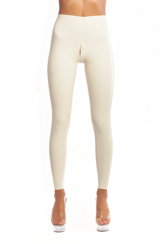 White Latex Leggings With U Zipper  Latex Long Tight Pants Tights Pants Rubber Latex Trousers