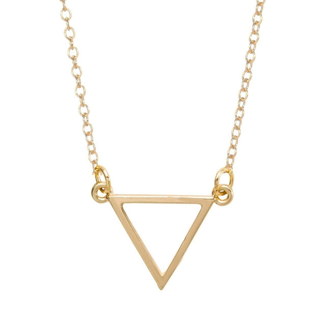 New Simple Triangle Necklace Tiny Geometric Shape Necklaces for Women Long Chain Necklace Party Birthday Jewelry -N068