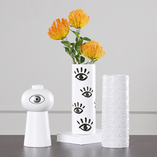 Creativity Man Avatar & Eyes White Ceramic Vase Nordic Style Home Decoration Accessories Wedding Ornaments Desktop Vases 28