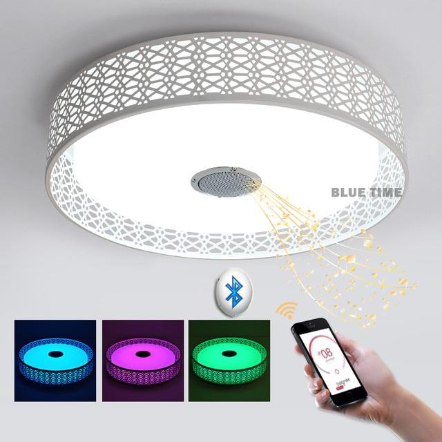 Superb Intelligence RGB Modern Ceiling Lights Led Bluetooth Music Lamp For Living  Room Lustres De Sala De