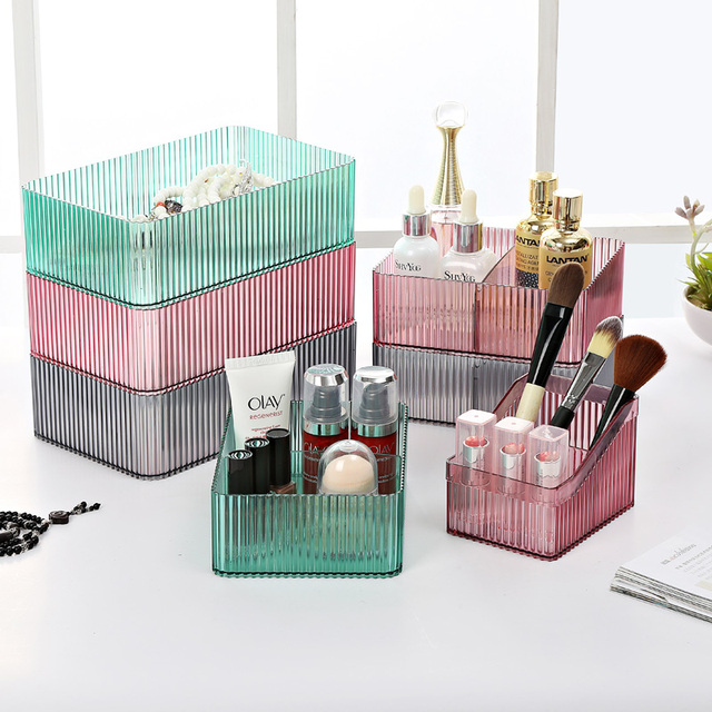 Solid Color Transpa Table Storage Box Dressing Cosmetic Plastic Office Racks Makeup Finishing
