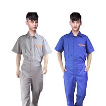 Work overalls Men Elastic waist Protective Coverall Repairman Strap Jumpsuits Trousers Working Uniforms Plus Size Short sleeve
