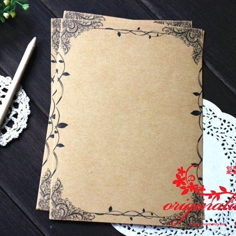8 Sheets/set Vintage Writing Paper Flower And Leaf Kraft Letter Paper Europe Style Writing Paper Stationery Letter Paper