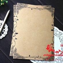 8 sheets/set Vintage Writing Paper Flower and Leaf Kraft Letter Europe Style Stationery