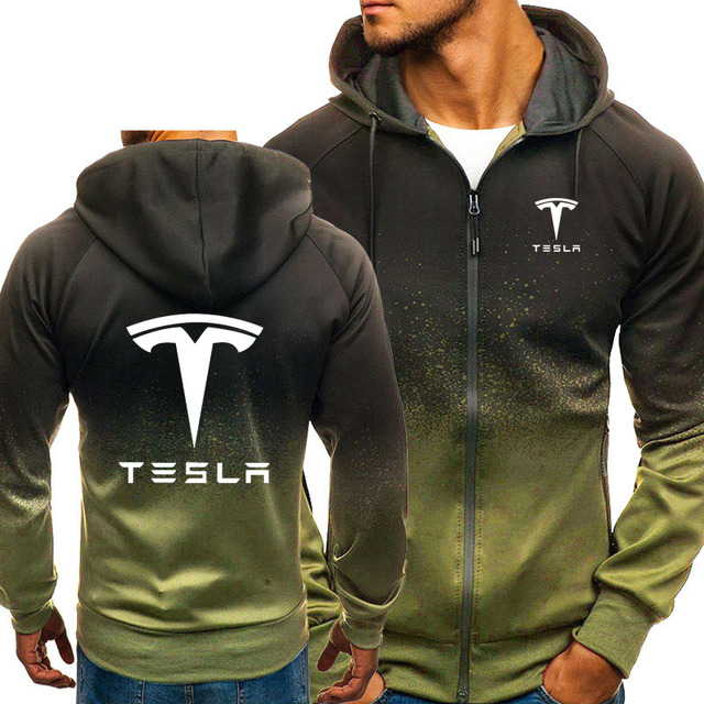 Hoodies Men Tesla Car Logo Print Casual HipHop Harajuku Gradient color Hooded Mens Fleece Sweatshirts zipper Jacket Man Clothing