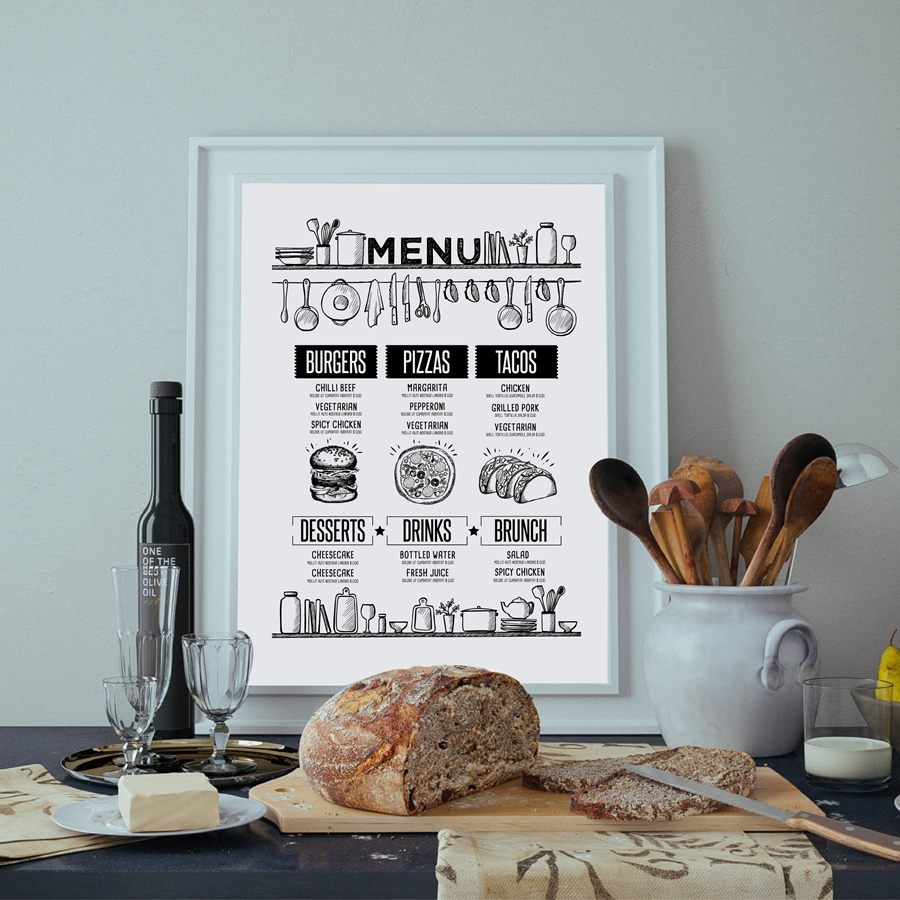 Pizza Recipe Food Brochure Wall Art Print And Poster , Hand Drawn Food Cafe Menu Canvas Poster Poster Restaurant Wall Decor image