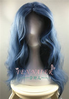 Film Into the Woods Cosplay Wig The Witch Wavy Curly Gray Blue Long Synthetic Hair Adult