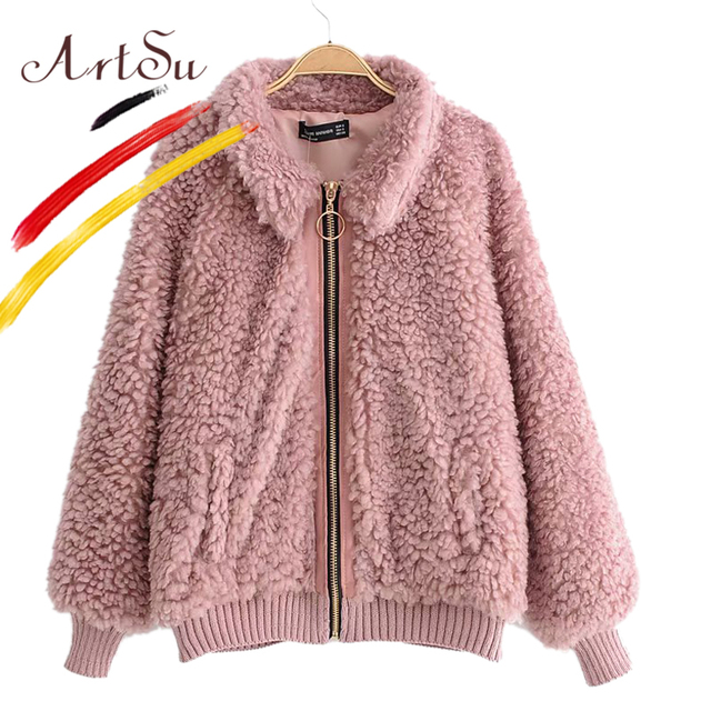 73dadf1b151 ArtSu Lamb Wool Winter Women Faux Fur Coat Fashion Turn-Down Collar Pink  Trendy Coat Warm Casual Zipper Jacket 2018 Abrigo Mujer