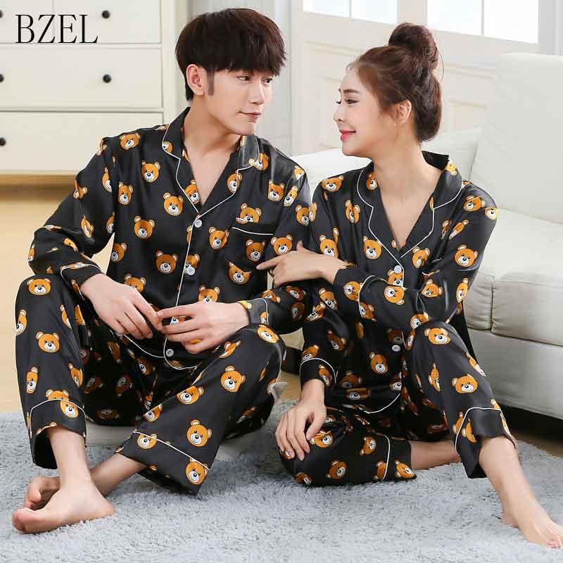 BZEL Men's Pajamas Sets Long Sleeve Lovers' Clothes New Silk Satin Sleepwear Home Wear Couples Pyjamas Men Sleep Lounge Pijamas