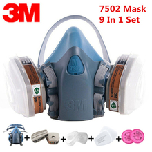 3M 7502 Anti Dust Gas Mask Respirator 9 In 1 Silicone Anti-dust Organic Vapor Benzene PM2.5 Multi-purpose Protection Tool Set