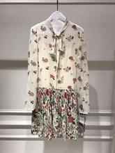 New arrival 2019 Fall womens long sleeves dress Chic floral print pleated A584