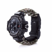 Survival Watch Outdoor Camping Medical Multi-functional Compass Thermometer Rescue Paracord Bracelet Equipment Tool kit