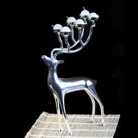 Candlestick Sliver Gold Metal Reindeer Candle Holder Stand Table Decorative Sliver Candelabra Wedding Bougeoir Home Decor 60A011