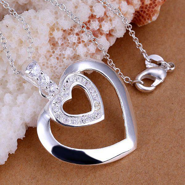 P221 Free Shipping silver plated Necklace, 925 fashion silver jewelry Double heart insets /UBLAAENT UBLAAENT