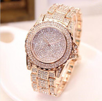 Top Brand High Grade Full Diamond Luxury Women Watch Plated 24k Gold Female Watches