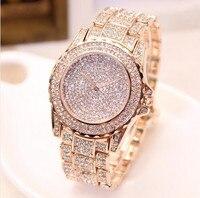 Top Brand High Grade Full Diamond Luxury Women Watch Plated 24k Gold Female Watches