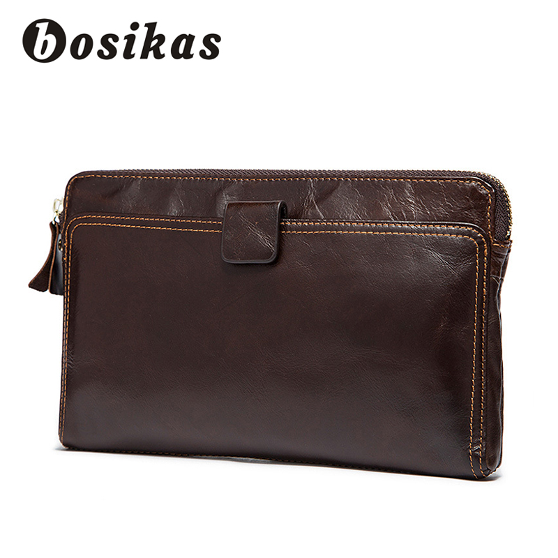 BOSIKAS Clutch Wallet Men Genuine Leather Coin Purse Vintage