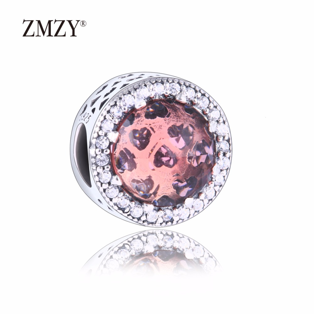 34e03c90c denmark zmzy authentic 925 sterling silver charms abstract blush pink  faceted cubic zirconia beads fits pandora