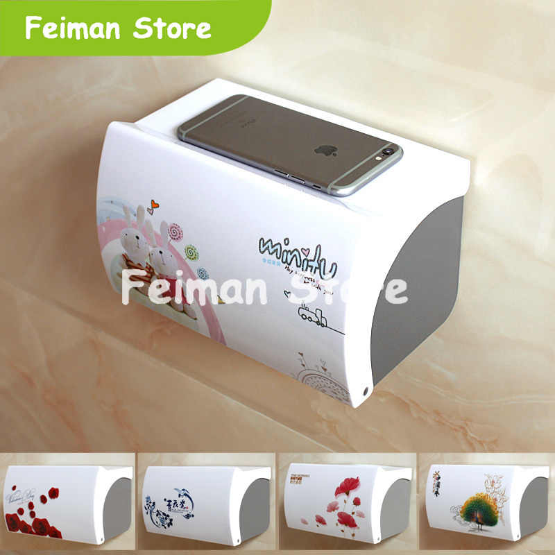 Toilet Paper Holder Plastic Acrylic Waterproof Toilet Roll Holder Box Free Stiletto Creative Door Paper Towel Box